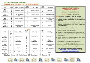 SUMMER 2015 HOLIDAY PLAY SCHEME SCHEDULE 1
